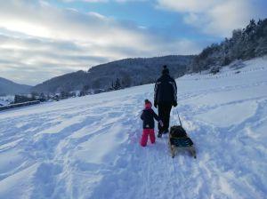 16.1.2021 9:15 mit dem Handy Familien-Schlitteltour oberhalb Merishausen