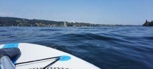 Mit dem SUP auf dem Untersee bei Steckborn, umgeben vom Wasser!